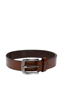 Peter England Brown Solid Leather Narrow Belt - Mp000000003433796