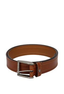 Louis Philippe Brown Stitched Leather Narrow Belt