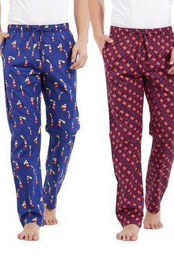XYXX Royal Blue & Maroon Printed Pyjama Pants (Pack Of 2)