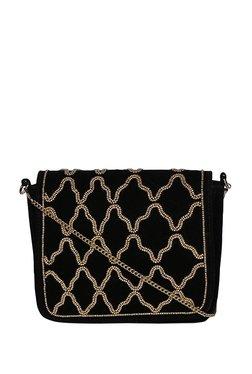 Truffle Collection Black & Golden Embellished Flap Sling Bag