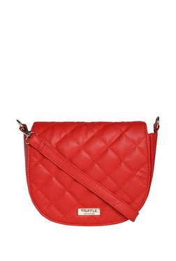 Truffle Collection Red Quilted Sling Bag