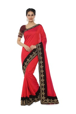 Soch Red Embroidered Art Silk Saree With Blouse