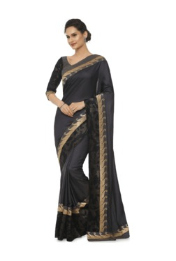 Soch Grey Embroidered Art Silk Saree With Blouse
