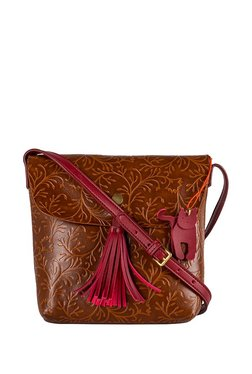St.Holii By Holii Fern 04 Brown Embossed Flap Sling Bag