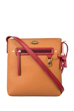St.Holii By Holii Hazel 03 Maroon & Tan Solid Sling Bag