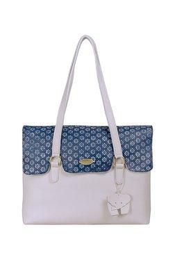 St.Holii By Holii Ivy 03 White & Blue Embossed Shoulder Bag