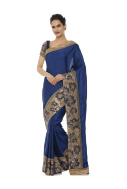 Soch Royal Blue Embroidered Art Silk Saree With Blouse
