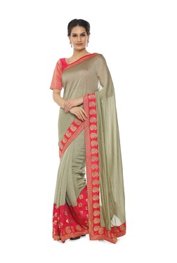 Soch Beige Embroidered Synthetic Saree With Blouse