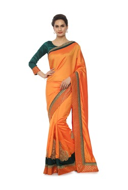 Soch Orange Embroidered Art Silk Saree With Blouse
