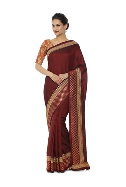 Soch Maroon Embroidered Art Silk Saree With Blouse