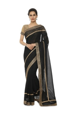 Soch Black Chanderi Saree With Blouse