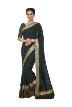 Soch Dark Green Embroidered Art Silk Saree With Blouse