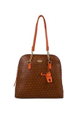St.Holii By Holii Fern 03 Brown Embossed Shoulder Bag