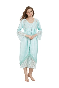 Mystere Paris Green Lace Nighty With Robe