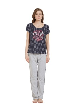 Mystere Paris Navy   Grey Printed Pyjama Set 2ca6b1f8f