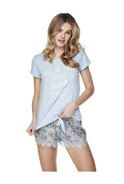 Hunkemoller Powder Blue Floral Print Shorts