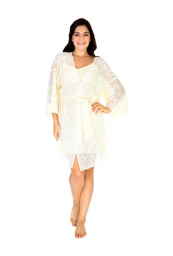 Mystere Paris Off White Lace Nighty With Robe