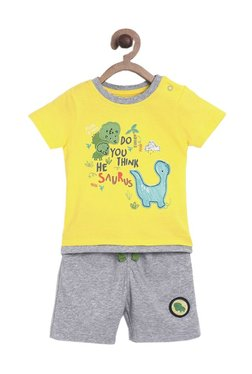 f4eb42f1206 MINIKLUB Kids Yellow   Grey Printed T-Shirt With Shorts