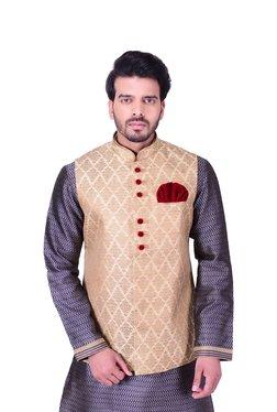 234897aee2d Manyavar Beige Self Print Nehru Jacket