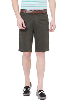 Peter England Olive Slim Fit Cotton Bermuda Shorts