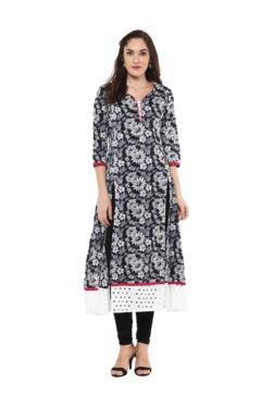 Jaipur Kurti Black Floral Print Cotton Kurta