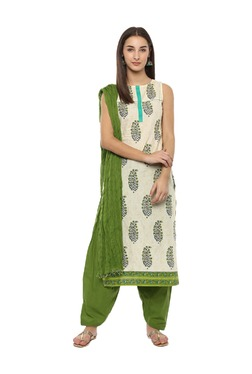 Jaipur Kurti Green Cotton Patiala With Dupatta