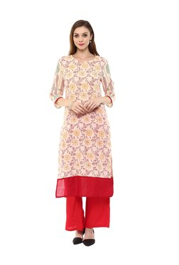 Jaipur Kurti Off White Floral Print Cotton Kurta
