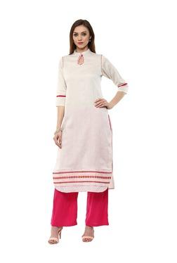 Jaipur Kurti Off White Printed South Cotton Kurta