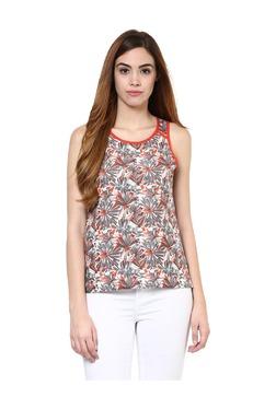 Jaipur Kurti White & Grey Floral Print Top