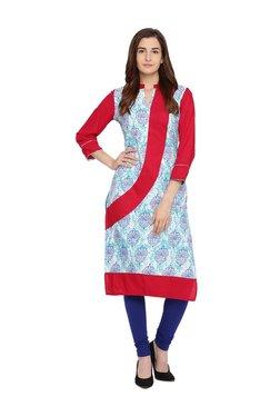 Evam Blue & Red Printed Cotton Kurta