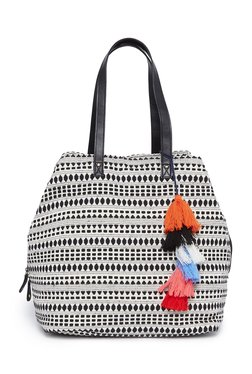 Westside White Jacquard Print Handbag