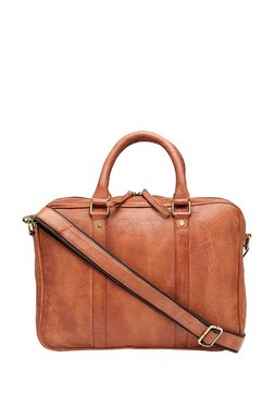 Teakwood Leathers Tan Solid Laptop Messenger Bag - Mp000000003476989