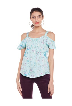 Oxolloxo Ocean Blue Printed Cold Shoulder Top