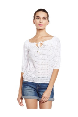 Oxolloxo White Embroidered Cotton Top