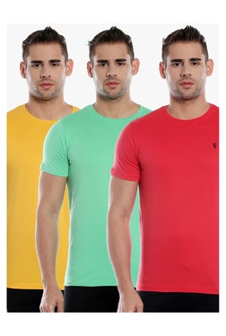 Killer Yellow, Green & Red Slim Fit T-Shirt (Pack Of 3)