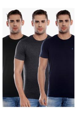 Killer Olive, Grey & Navy Slim Fit T-Shirt (Pack Of 3)