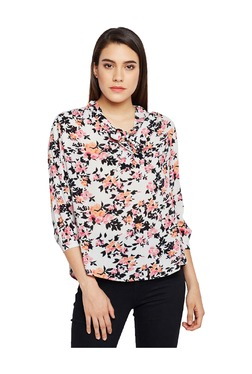 Oxolloxo Off White Floral Print Cotton Top