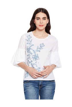 Oxolloxo White Embroidered Cotton Top - Mp000000003478194