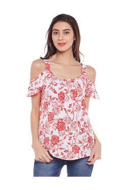 Oxolloxo White Floral Print Cold Shoulder Top