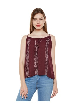 Oxolloxo Maroon Printed Cotton Top