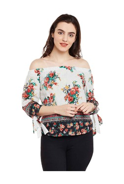 Oxolloxo Off White Floral Print Cold Shoulder Cotton Top