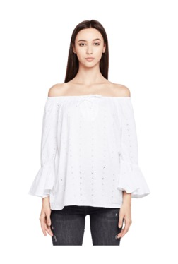 Oxolloxo White Cold Shoulder Cotton Top