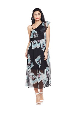 Oxolloxo Black Floral Print Midi Dress