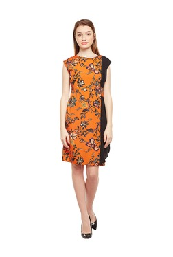 Oxolloxo Orange Floral Print Knee Length Dress