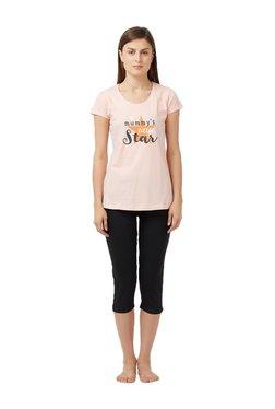 Blush By PrettySecrets Peach & Black Printed Capri Set