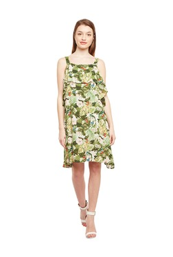 Oxolloxo Green Printed Knee Length Dress