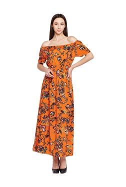 Oxolloxo Orange Off Shoulder Floral Print Maxi Dress