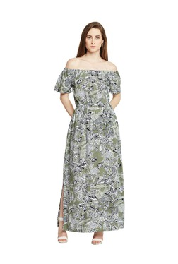 Oxolloxo Green Off Shoulder Floral Print Maxi Dress