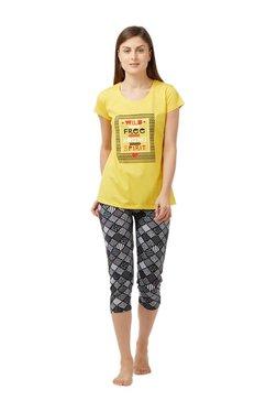 Blush By PrettySecrets Yellow & Black Printed Capri Set