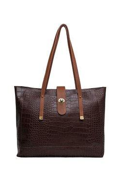 Hidesign Sb Atria 01 Brown Textured Laptop Shoulder Bag